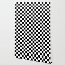 Checker Cross Squares Black & White Wallpaper