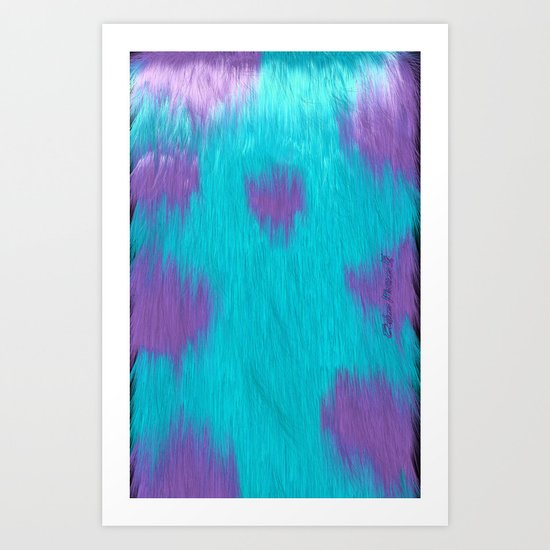 Blue Monster fur. Art Print