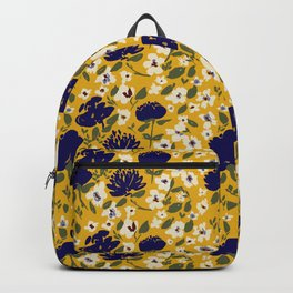 Blue Mustard Ditsy Floral Pattern Backpack