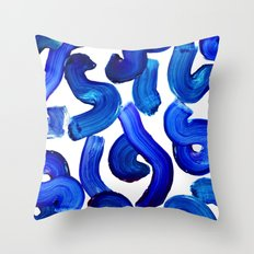 Blue paint strokes pattern Throw Pillow