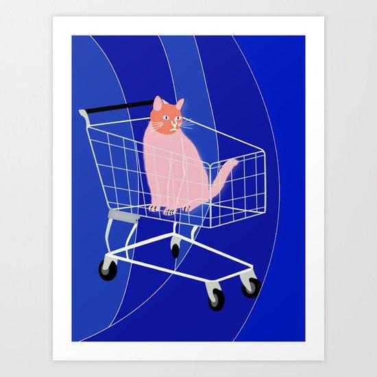 Cat in a cart Art Print