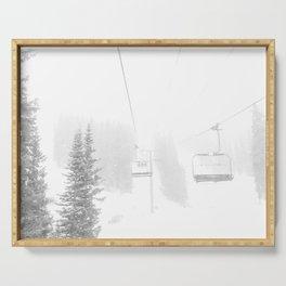 Ski Lift Horizon // Ride to the Peak Epic Adventure Whiteout Black and White Minimal Photograph  Serving Tray