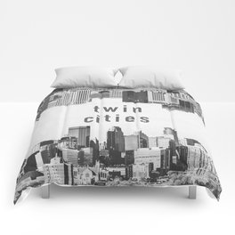 Twin Cities Minneapolis and Saint Paul Minnesota Skylines Comforters