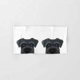 Black Schnauzer, Dog illustration original painting print Hand & Bath Towel