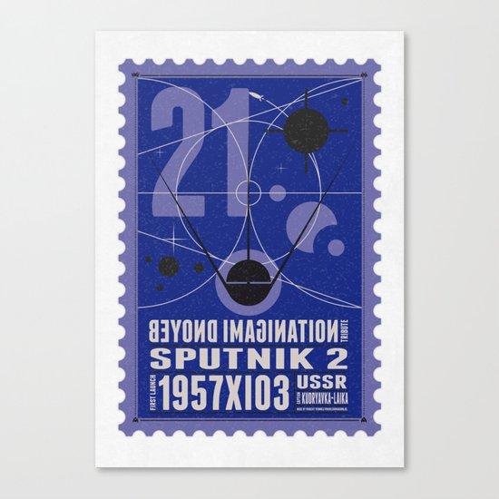 Beyond imagination: Sputnik 2 postage stamp  Canvas Print
