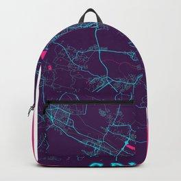 Gdynia Neon City Map, Gdynia Minimalist City Map Art Print Backpack