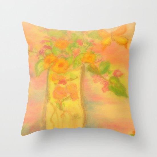 Spring Awaits~Painting the day away Throw Pillow