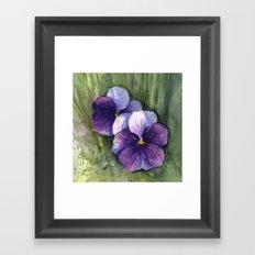 Purple Pansies Watercolor Flowers Painting Violet Floral Art Framed Art Print