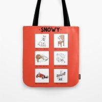 meme Tote Bags featuring Snowy Meme by Rafstar Designs