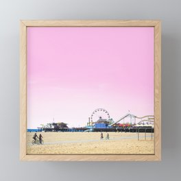 Santa Monica Pier with Ferries Wheel and Roller Coaster Against a Pink Sky Framed Mini Art Print