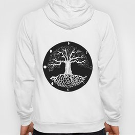 black and white tree of life with moon phases and celtic trinity knot Hoody