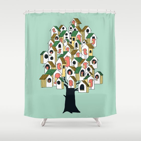 Bird houses Shower Curtain