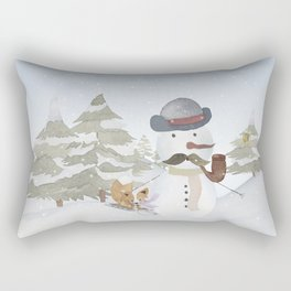 Winter Wonderland - Funny Snowman and friends - Watercolor illustration III Rectangular Pillow