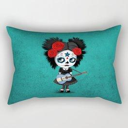 Day of the Dead Girl Playing Nicaraguan Flag Guitar Rectangular Pillow