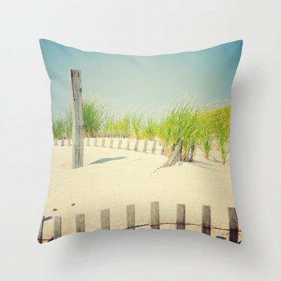 Ocean beach dunes Throw Pillow