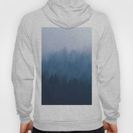 Misty Foggy Minimalist Landscape Photography Blue Monochrome Parallax Pine Trees Hoody