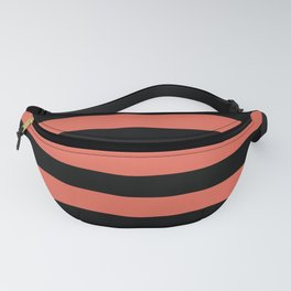Inspired by Pantone Living Coral 16-1546 Hand Drawn Fat Horizontal Lines on Black Fanny Pack