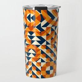 Orange Navy Color Overlay Irregular Geometric Blocks Square Quilt Pattern Travel Mug