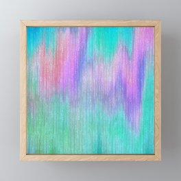 Modern abstract turquoise teal pink lilac watercolor brushstrokes Framed Mini Art Print