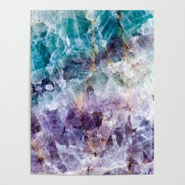 Turquoise & Purple Quartz Crystal Poster