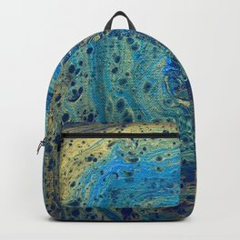 Blue and Gold Spiral Art Backpack