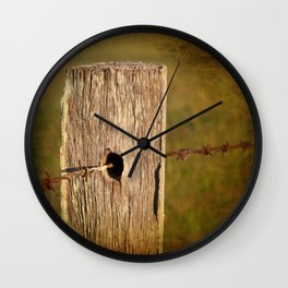Barbed wire fence Wall Clock
