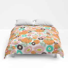 Geometric Oranges and Abstract Flowers Comforters