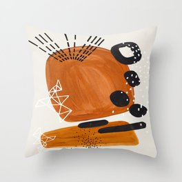 Fun Mid Century Modern Abstract Minimalist Vintage Brown Organic Shapes With Geometric Patterns Throw Pillow