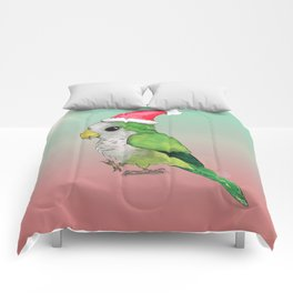 Green Christmas parrot Comforters