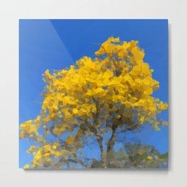 Blooming tree Geometric yellow and blue Metal Print