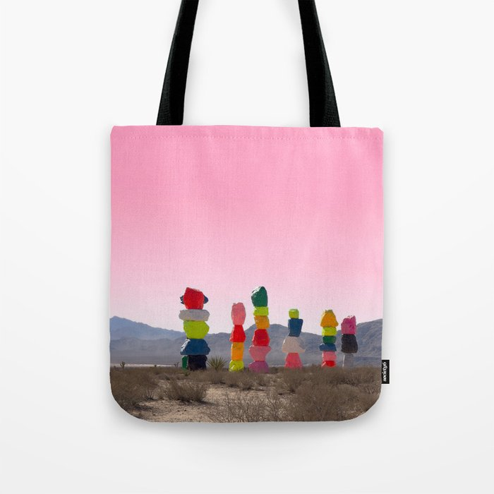 Seven Magic Mountains with Pink Sky - Las Vegas Tote Bag