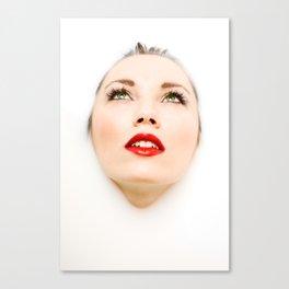 Face In Milk Canvas Print