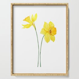 two botanical yellow daffodils watercolor Serving Tray
