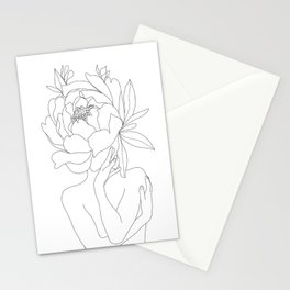 Minimal Line Art Woman Flower Head Stationery Cards