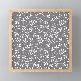 Assorted Leaf Silhouettes Cream on Grey Ptn Framed Mini Art Print
