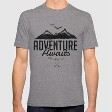 ADVENTURE AWAITS Tri-Grey LARGE Mens Fitted Tee