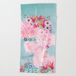Woman in flowers II Beach Towel