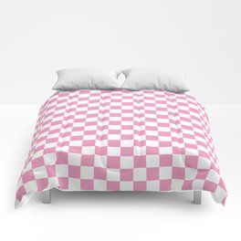 Light Pink Checkerboard Pattern Comforters