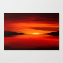 Painting of a seascape in red and orange colors Canvas Print