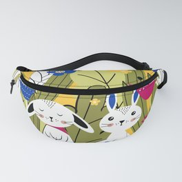 Cute bunnies in the meadow Fanny Pack
