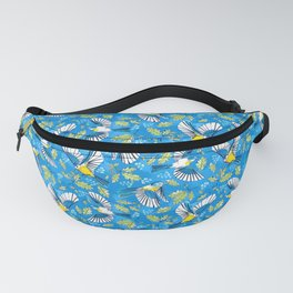 Flying Birds and Oak Leaves on Blue Fanny Pack