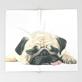 Nap Pug, Dog illustration original painting print Throw Blanket