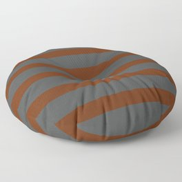Brown Cinnamon Stripes on Gray Background Floor Pillow