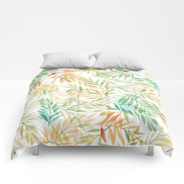 Watercolour Ferns | Mint and Coral Comforters