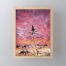 Leaf shadow at sunset Framed Mini Art Print