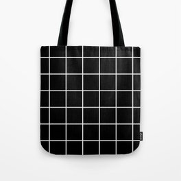 Square Grid Black Tote Bag