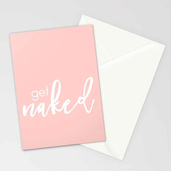 Bathroom Decor // get naked - white on light pink Stationery Cards