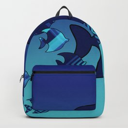 Nine Blue Fish with Patterns Backpack
