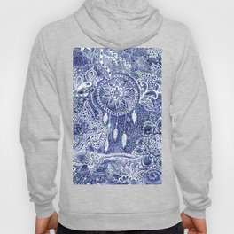 Boho blue dreamcatcher feathers floral illustration Hoody