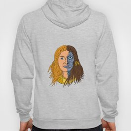 Hel Norse Goddess Face Front Drawing Color Hoody